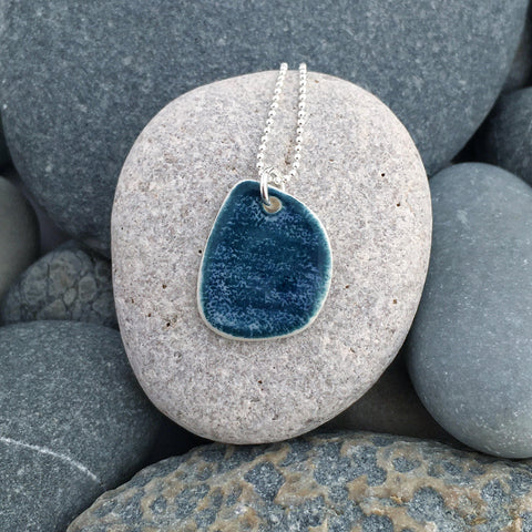 Coast Handmade Ceramic Pendant with Silver Chain