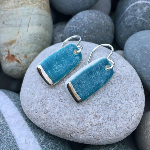 Lustre Handmade Ceramic Earrings with Silver Hooks