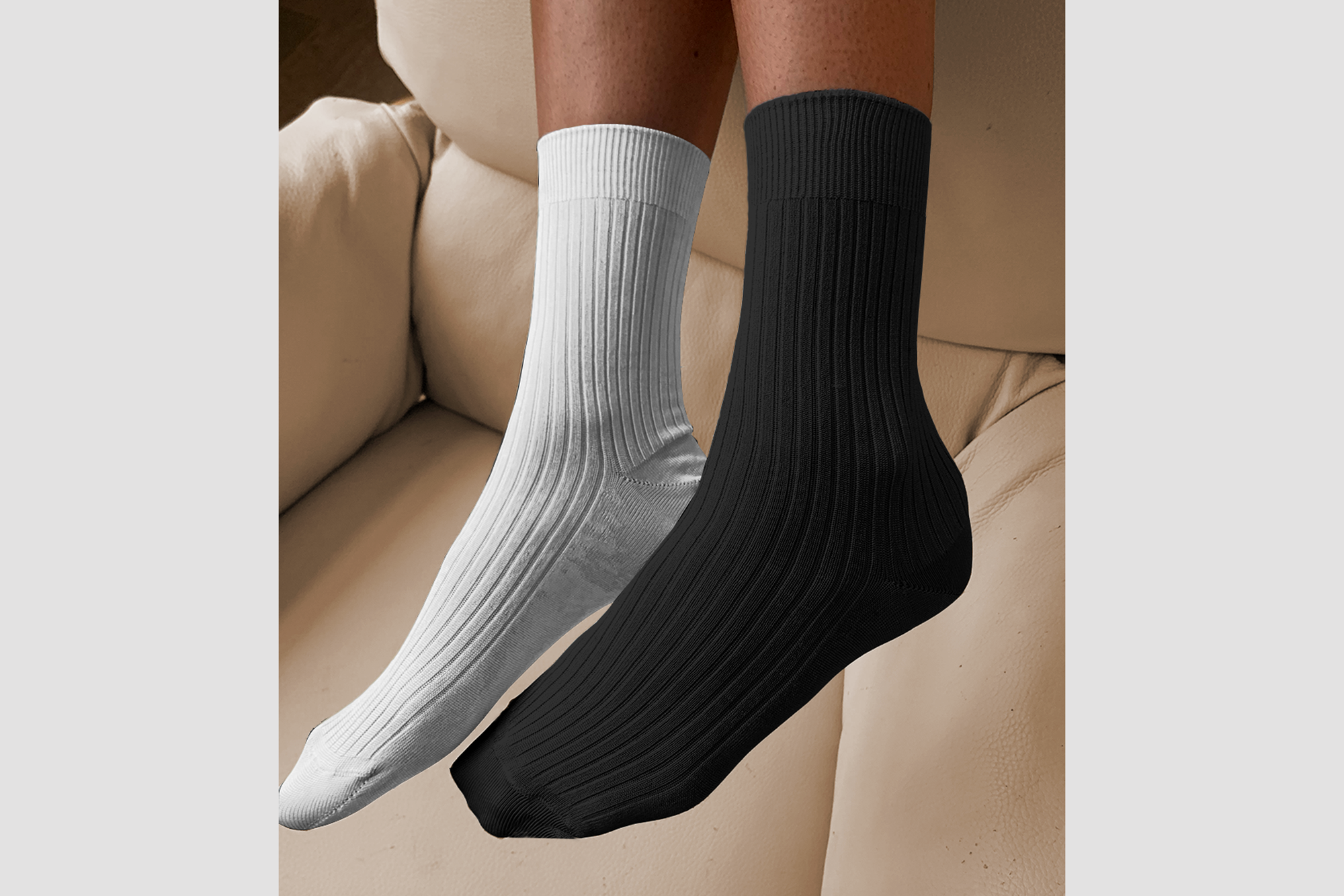Stems black & white ribbed sock