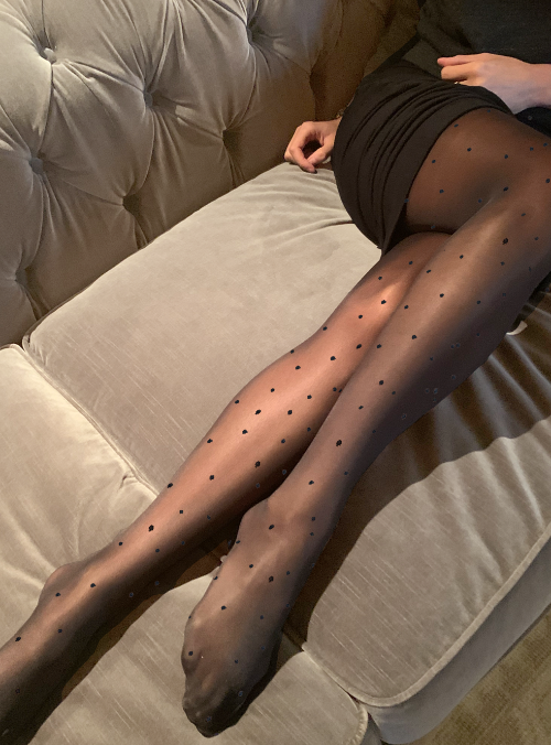 Mini dots sheer tights, Black