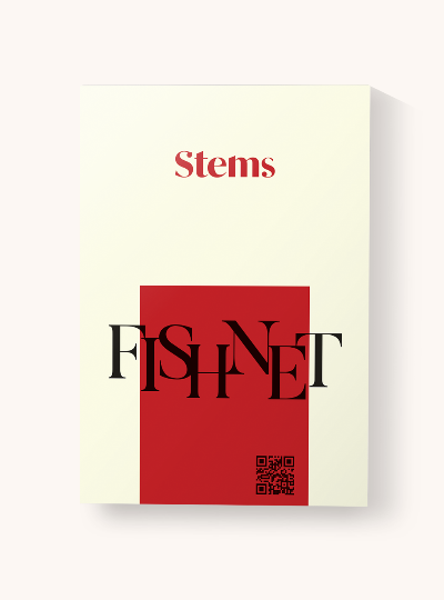 Stems red and cream packaging for fishnet tights
