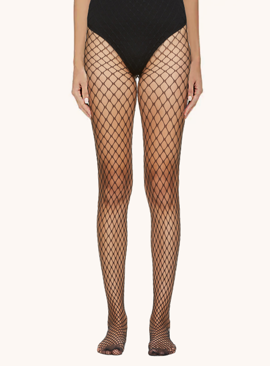 'Caught up' fishnet tights, Black