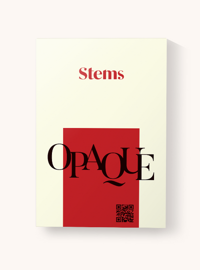 Stems opaque tights packaging red and cream