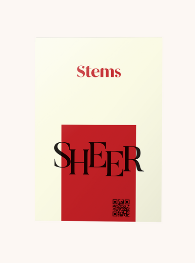 Stems sheer tights packaging red and cream