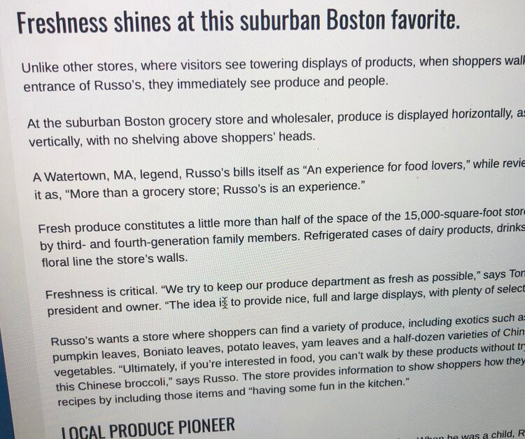 Produce Business Magazine wrote about Russo's
