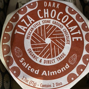 Chocolate, Taza Organic Chocolate, Salted Almond, Dark, 2.7 oz
