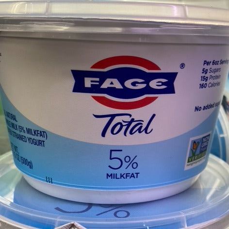 Yogurt, FAGE 5% milkfat, 17.6 oz