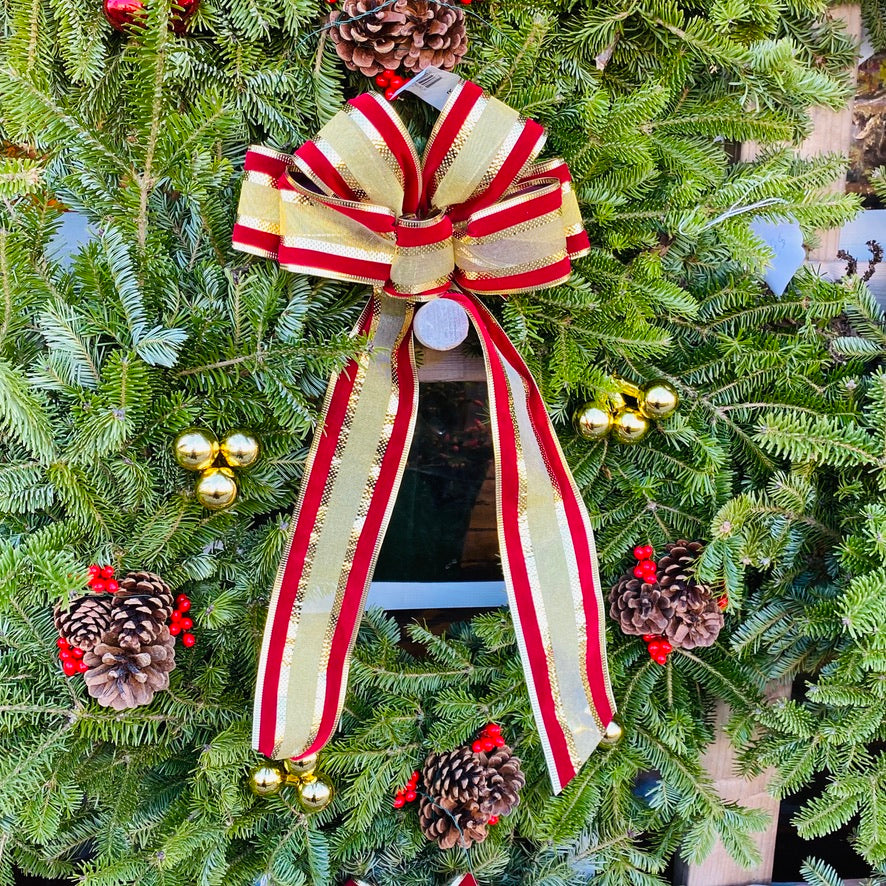 Wreath, Gold and Maroon Ribbon