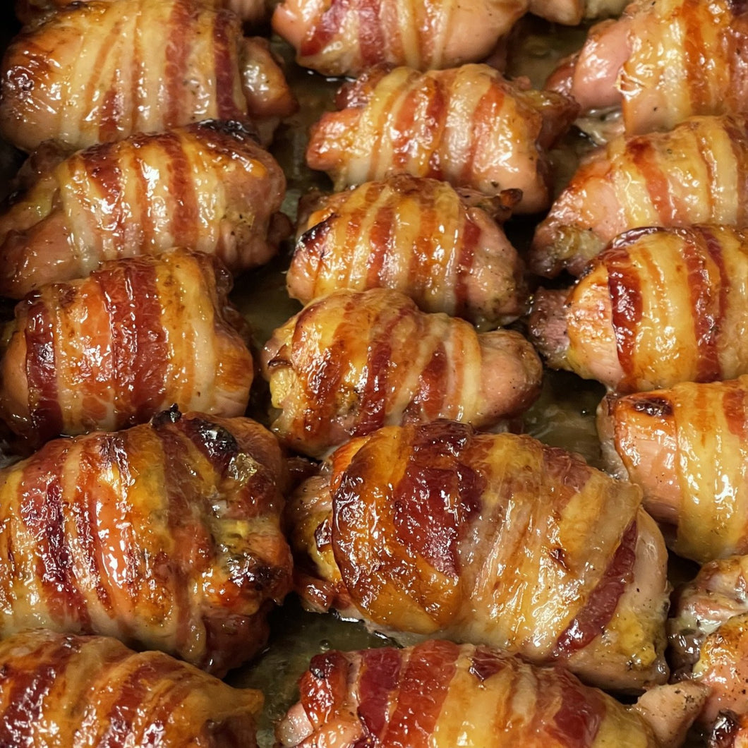 BACON WRAPPED CHICKEN WITH APRICOT GLACE