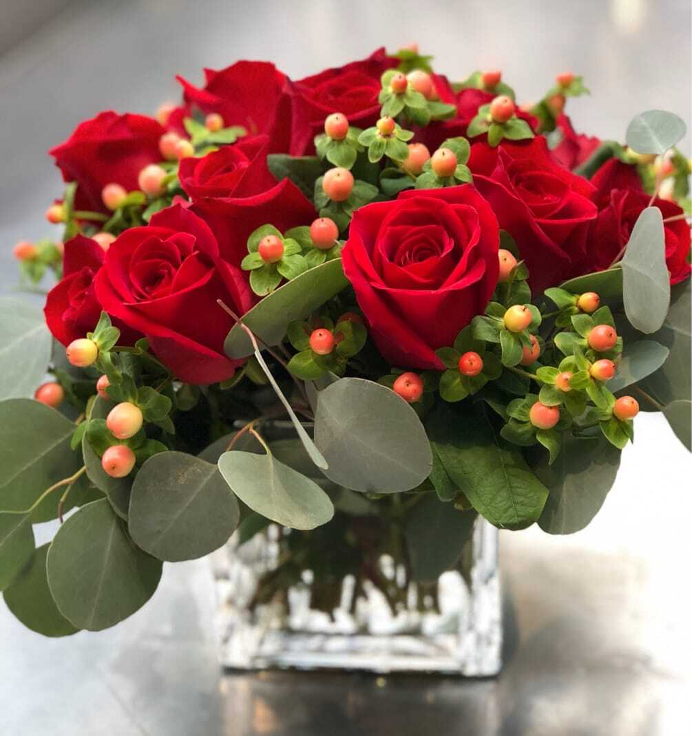 Rose, Hypericum & Eucalyptus Arrangement