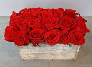 Rustic Wooden box of roses