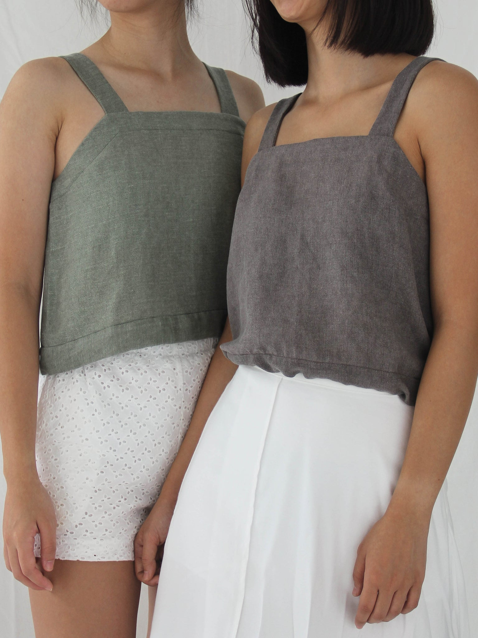 Tottori Crop Top in Ash
