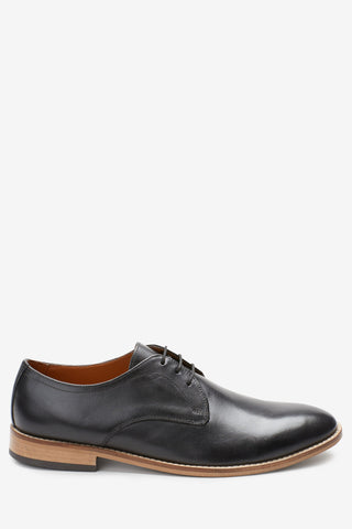 Contrast Sole Leather Derby Shoes