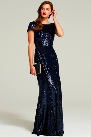 HotSquash Navy Cowl Back Sequinned Fishtail Maxi Dress