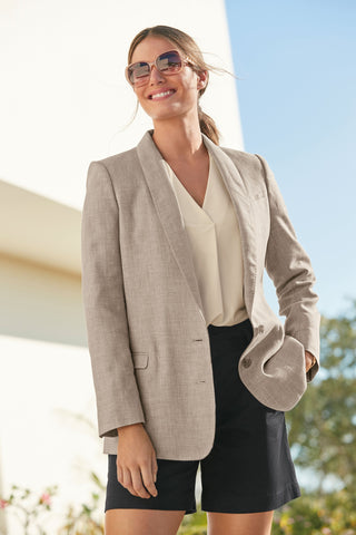 Linen Blend Single Breasted Blazer