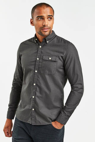 Regular Fit Textured Overdye Long Sleeve Shirt