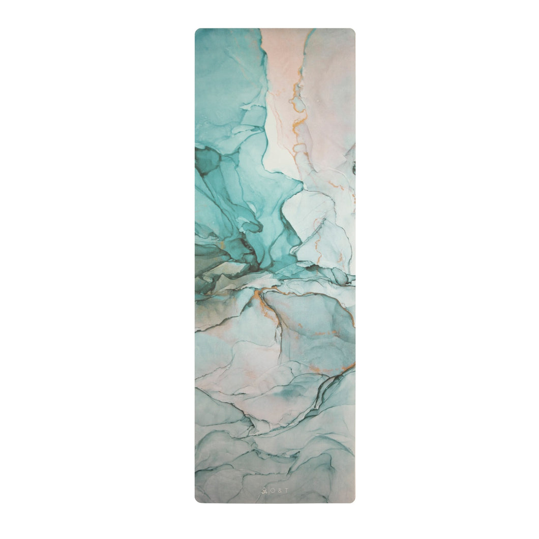 Jade gemstone inspired turquoise sage green aesthetic eco friendly PVC free yoga mat