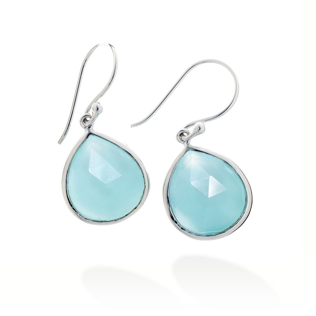 SILVER FACET TEAR DROP EARRINGS