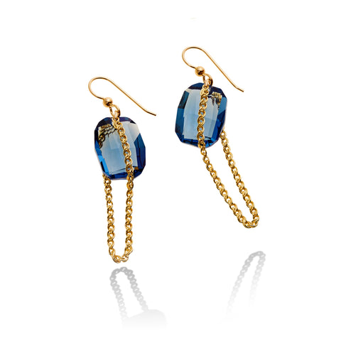HALO CHAIN EARRING DENIM