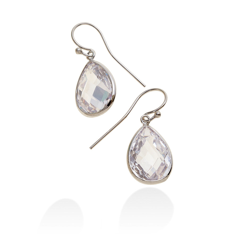 HALO FACETED TEAR DROP EARRINGS