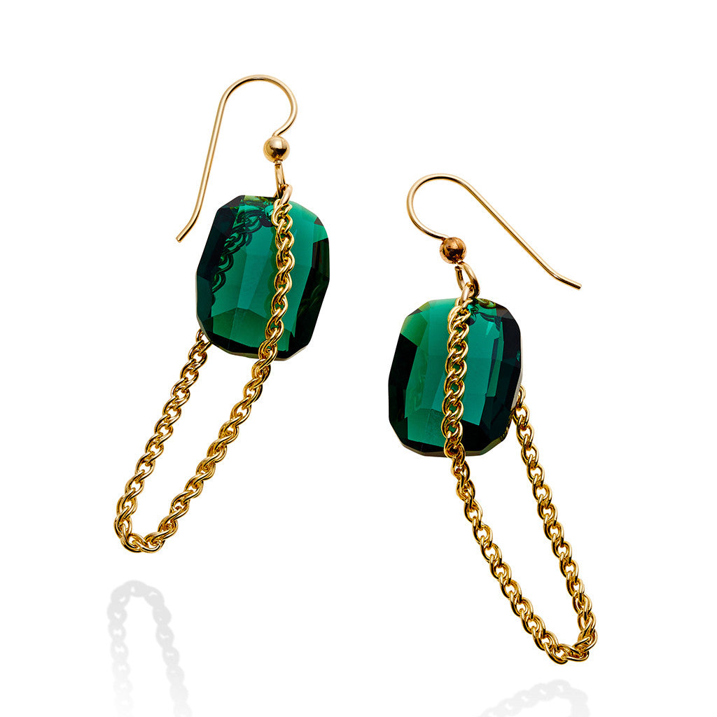 HALO CHAIN EARRING EMERALD