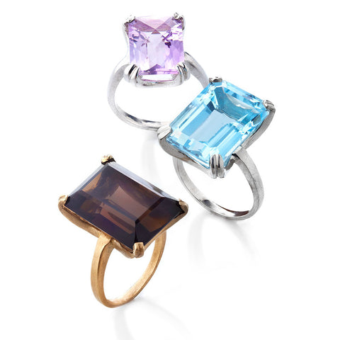 FACET EMERALD CUT COCKTAIL RINGS