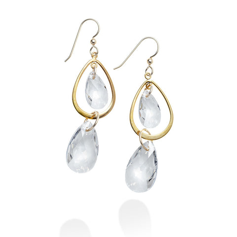 LUXE DOUBLE TEAR DROP EARRINGS
