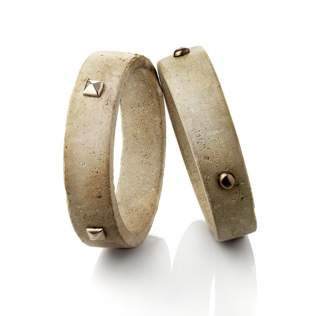PAVE SLAB BANGLES WITH STUDS