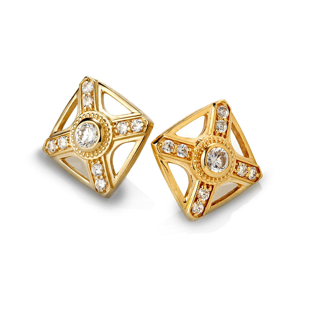 GOLD RAW LINEAR STUD EARRINGS