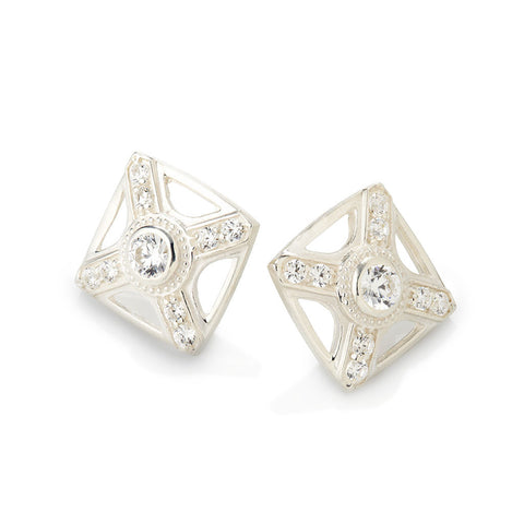 WHITE GOLD RAW LINEAR STUD EARRINGS