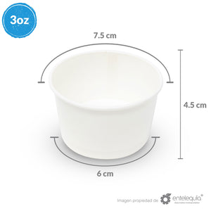 Contenedor para Helado 3oz Papel Blanco CB3oz - Desechable Biodegradable Entelequia