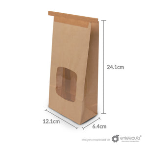 Bolsa de Kraft Grande con ventana BVG - Desechable Biodegradable Entelequia