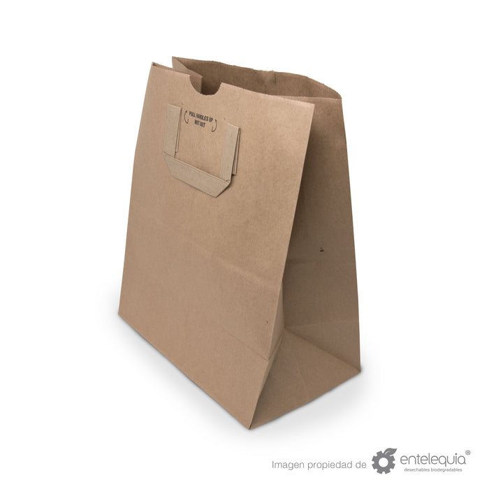 Bolsa de Kraft Plana con asa BAP 1/7 - Desechable Biodegradable Entelequia 300 pzas