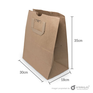 Bolsa de Kraft Plana con asa BAP 1/7 - Desechable Biodegradable Entelequia
