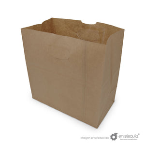 Bolsa de Kraft con asa recortada BAR - Desechables Biodegradable Entelequia