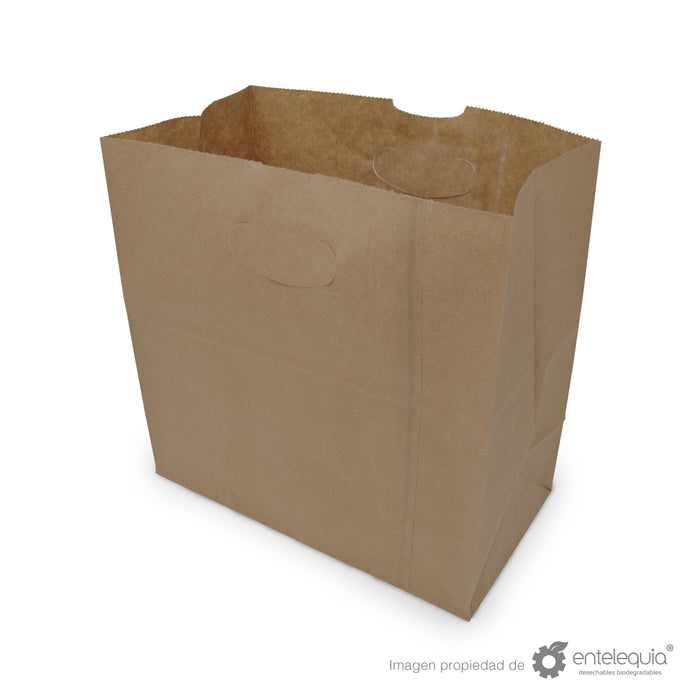 Bolsa de Kraft con asa recortada BAR - Desechables Biodegradable Entelequia 500 pzas