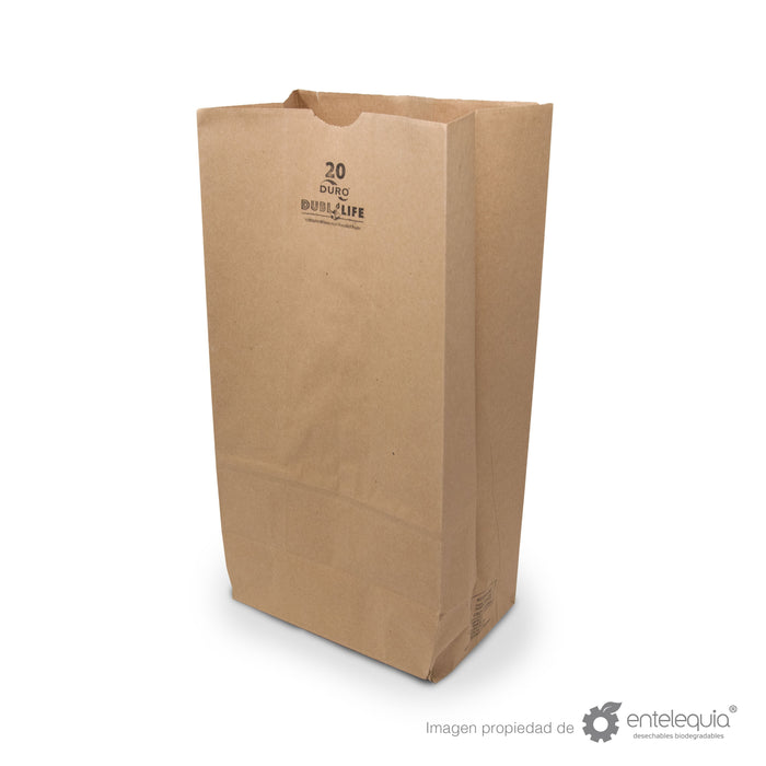 Bolsa de Kraft #20 - Desechable Biodegradable Entelequia 500 pzas