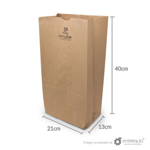 Bolsa de Kraft #20 - Desechable Biodegradable Entelequia