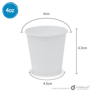 Vaso de Papel bebida caliente 4oz VC4 SH - Desechable Biodegradable Entelequia