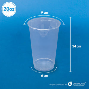 Vaso PLA bebida fría 20oz - Desechable Biodegradable Entelequia