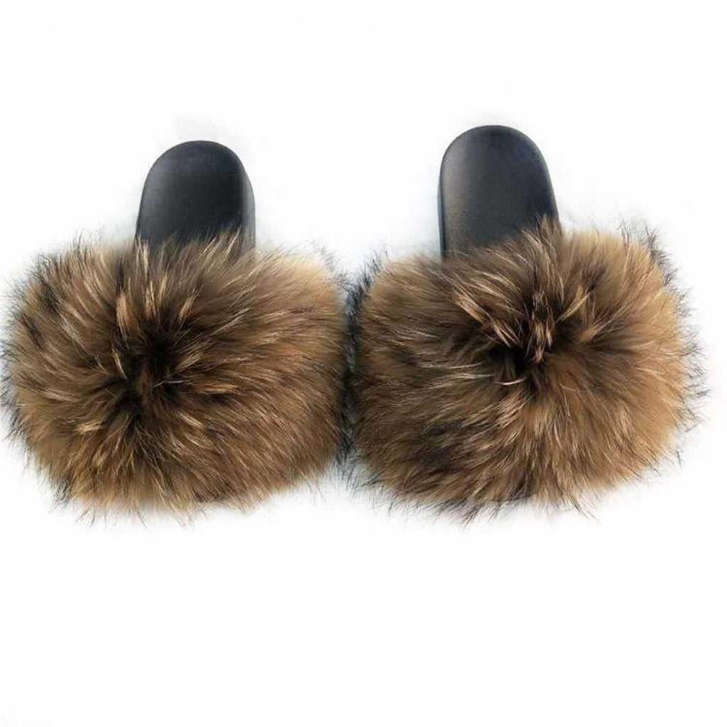 Brown Beauty Celebrity Fur Slides