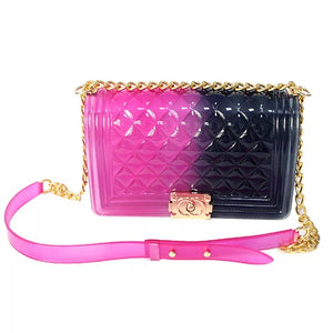 Purple and Black Jelly Handbag