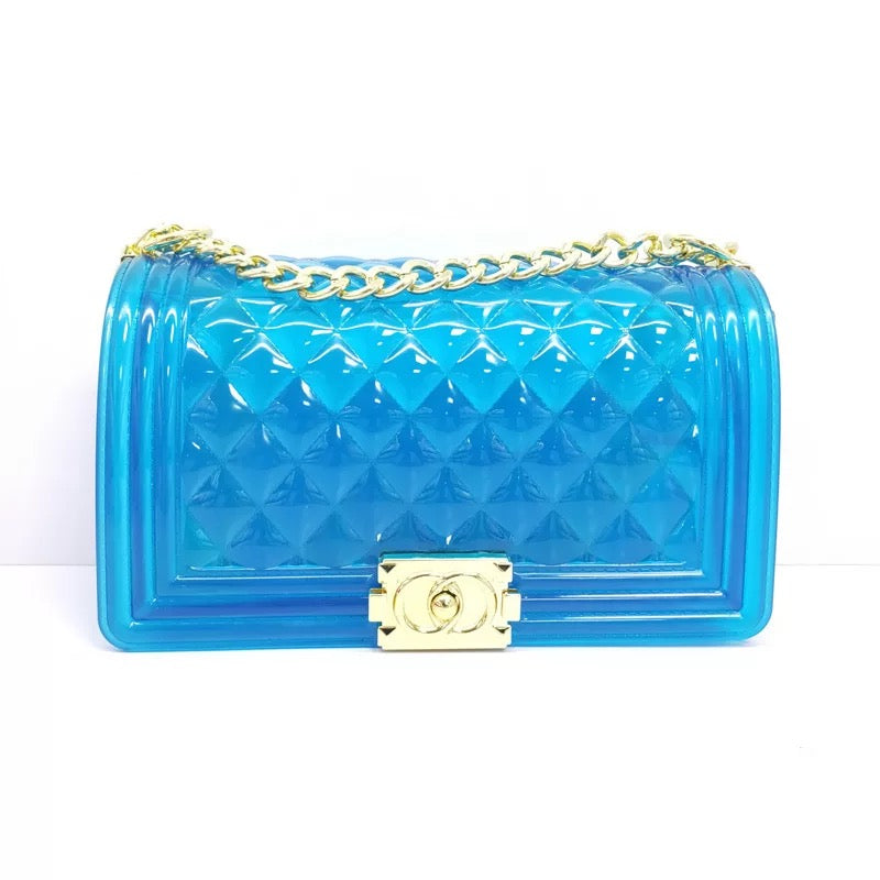 Clear Blue Jelly Handbag