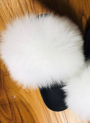 All White Everything Celebrity Fur Slides