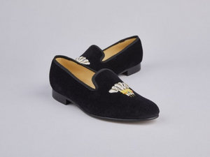 ENGLISH VELVET SHOES / BLACK VELVET WITH CREST / 7 DESIGNS / SIZE 6 TO 13