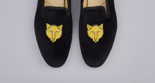 Load image into Gallery viewer, ENGLISH VELVET SHOES / BLACK VELVET WITH CREST / 7 DESIGNS / SIZE 6 TO 13