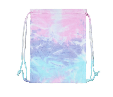 HAND TIE DYED SUNSET BLUE / LAVENDER / PINK / FLEECE BAG 17' X 13