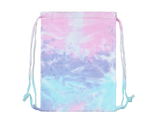 HAND TIE DYED SUNSET BLUE / LAVENDER / PINK / FLEECE BAG 17' X 13""