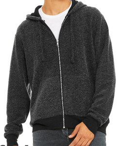 LUXURY SUEDED FLEECE FULL ZIP HOODIE / 3 COLORS / XS TO XX-L