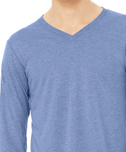 Load image into Gallery viewer, LUXE V-NECK T-SHIRT LONG SLEEVE JERSEY / MALIBU BLUE / CHARCOAL GREY / XS TO XX-L